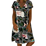 Vintage Floral Dress, Women Vintage Casual Summer Floral Print V-Neck Short Sleeve Dress Mini Dress (M, Gray)