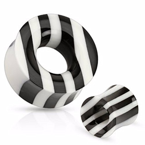 Black and White Striped Organic Horn Saddle Fit Freedom Fashion Tunnel (Sold by Pair) (Saddle Horn Tunnel)