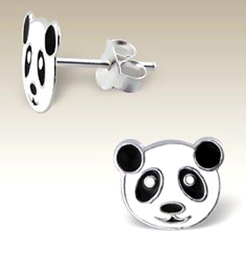 Panda Bear Earrings, Smile Face Studs, White Black, 925 Stering Silver, Nickle Free - Free Nickle