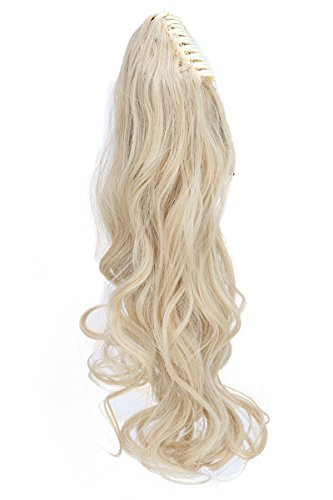 S-noilite Long Thick Claw Jaw Ponytail Big Wave Clip in Pony Tail Hair Extension Extensions (24 inches-curly, gold mix bleach (New Hair Jaw Clip)