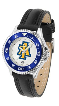 (SunTime North Carolina A & T Aggies Competitor Ladies Watch with Leather Band)