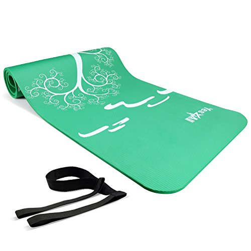 Yes4All Premium NBR Exercise Yoga Mat Printed Design – Foam Yoga Mat High Density 1/2 inch Extra Thick – Thick Yoga Mat with Carrying Strap (Roots and Beginnings Green) - Green Thick Mat