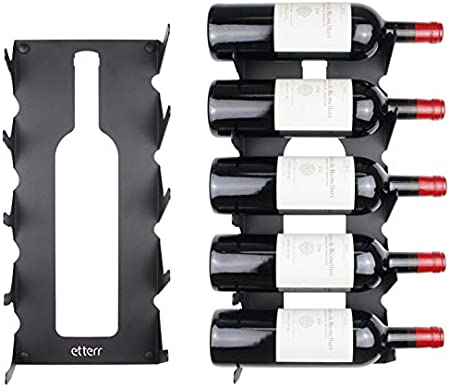 Botellero de pared con capacidad para 5 botellas, 100% Acero. Fabricado en la Unión Europea (España)