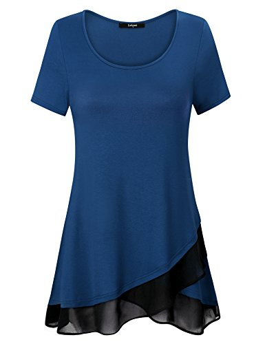 Laksmi Ladies Casual Tops, Spring New Collection Tunic Basic Solid Short Sleeve Crossover A Line Chiffon Hem Jersey Tee Shirts,Dark Cyan (Crossover Jersey Tee)