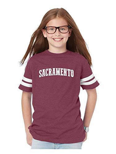Mom`s Favorite Sacramento City California Traveler Gift Youth Unisex Football Fine Jersey Tee (YXLMAR) Maroon]()