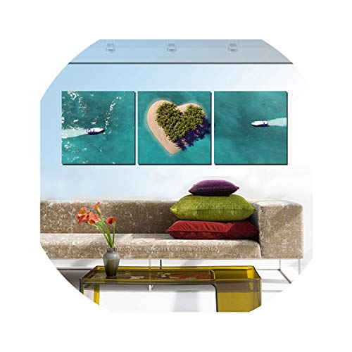 three thousand 3 Panels Home Decor Ship Tropical Seascape Paintings Heart Island Oil Painting On Canvas Room Wall Romantic Decoration Unframed,20x20cmx3pcs
