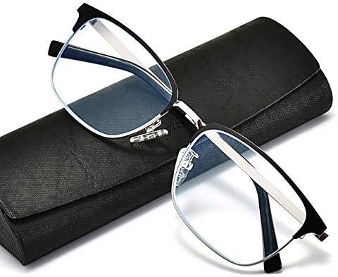 男性用コンピューター用老眼鏡、超軽量金属スプライシングフレーム読書用アイウェア、ブルーライトブロッキング/疲労防止光学メガネ(ブラックゴールド/ブラックシルバー)