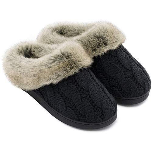 Women's Soft Yarn Cable Knit Slippers Memory Foam Anti-Skid Sole House Shoes w/Faux Fur Collar, Indoor & Outdoor (Medium / 7-8 B(M) US, Black) (Wooden Steps Ideas Patio)