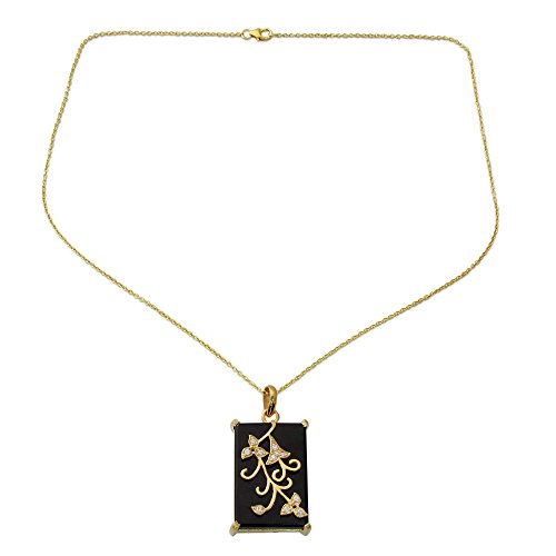 NOVICA Multi-Gem Onyx 22k Gold Vermeil .925 Sterling Silver Pendant Necklace 'Forever You in Black' Black Onyx With Vermeil Necklace