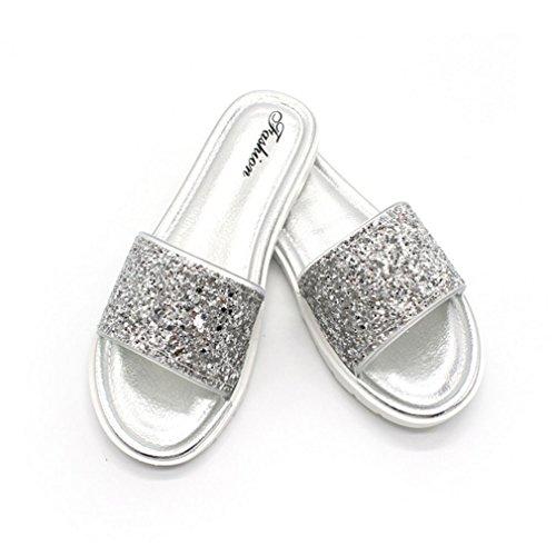 Tomaia Fashion Antiscivolo Infradito Silver QJIAXING Estate Fondo Sandali Scarpe Paillettes Spiaggia Pantofole Black Indossabili Piatto Lady Da 36 qpqftXg
