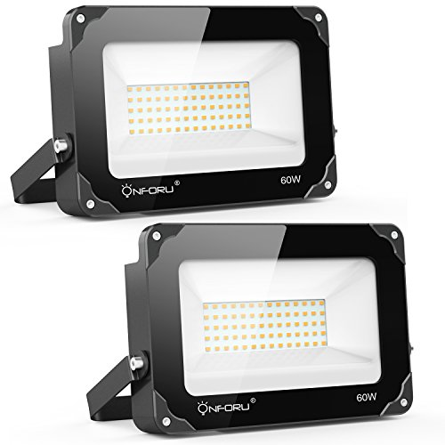 Onforu 2 Pack 60W LED Flood Light, 6000lm Super Bright Security Lights, 2700K Warm White, IP65 Waterproof Outdoor Landscape Floodlight for Yard, Garden, Playground, Party