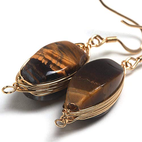 (Natural Stone Wire Wrap Dangle Drop Earrings Gold Plated 925 Sterling Silver Hook/Tiger Eye, Mother's Day Gift)