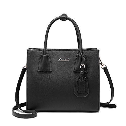 Handbags for Women Medium Satchel Purses Shoulder Bag - Median Zippered Compartment and Layered Design (Black)
