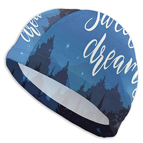 K0k2to Swimming Cap Elastic Swimming Hat Diving Caps,Sweet Dreams Good Night Wish Typography Over The Landscape with Trees Silhouettes,for Men Women Youths