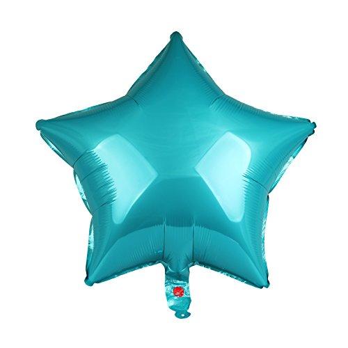 (vLoveLife 10pcs Teal Star Shape Foil Balloons Metallic Foil Helium Balloon 18