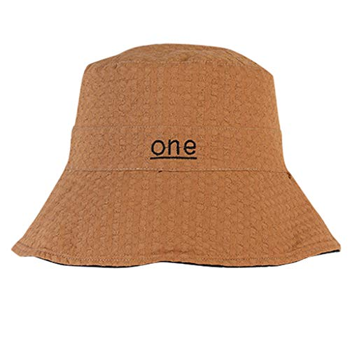 Challyhope Cute One Printed Comfortable Sun Protection Ladies Hat Cotton Foldable Sun Summer Cap for Women Girls (Coffee) ()