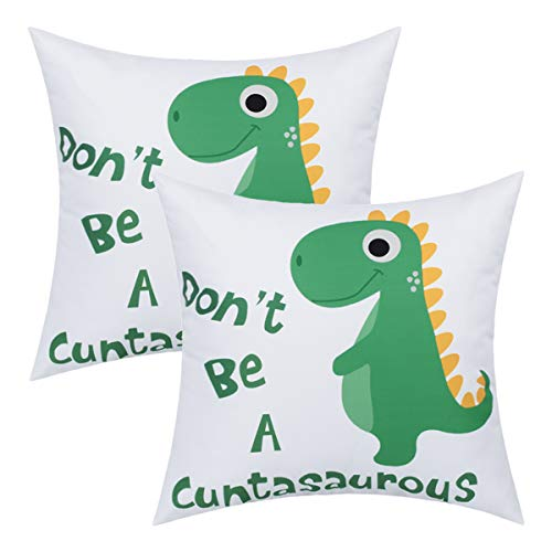 BLEUM CADE Don't Be A Cuntasaurous Throw Pillow Cover Cute Dinosaur Throw Pillow Case Set of 2 Decorative Pillow Case for Sofa Couch Bed Office Car