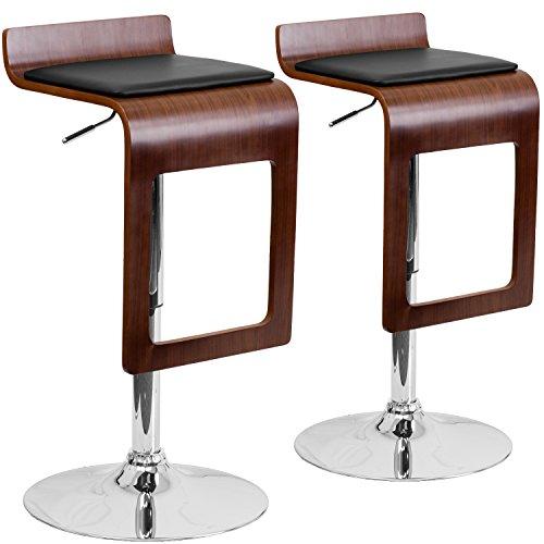 Flash Furniture 2 Pk. Walnut Bentwood Adjustable Height Barstool with Drop Frame and Black Vinyl (Chrome Walnut Bar Stool)