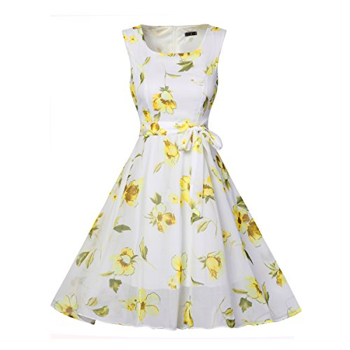 Line Vintage Gown Womens BessWedding Yellow Dress Printed Retro Floral Elegant Dress A qpw4wFxHng