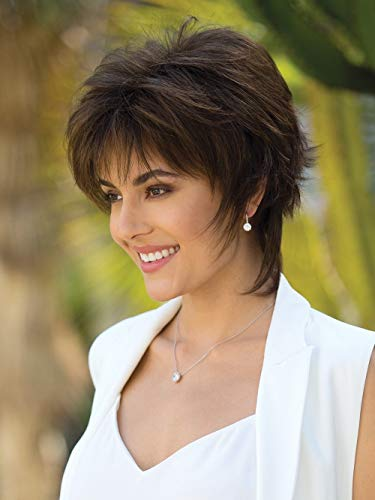 GNIMEGIL Fashion Female Dark Brown Hair Wigs for White Women Short Hairstyles Hair Replacement Wigs Cosplay Costume Party Wig Synthetic Fiber Ladies Wig (Brown) (Short Hairstyles For Women With Big Ears)