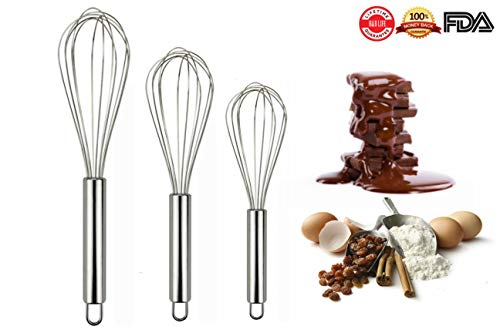 H&B LIFE Stainless Steel Egg Whisk,Good Grips Egg Beater Mixer,Egg Frother 8+10+ 12 Inches Set of 3