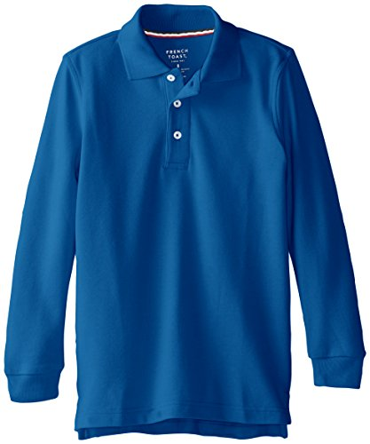 French Toast Big Boys' Long Sleeve Pique Polo, Royal, 10 by French Toast (Image #1)