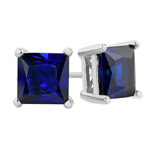 blue square stud earrings - 4