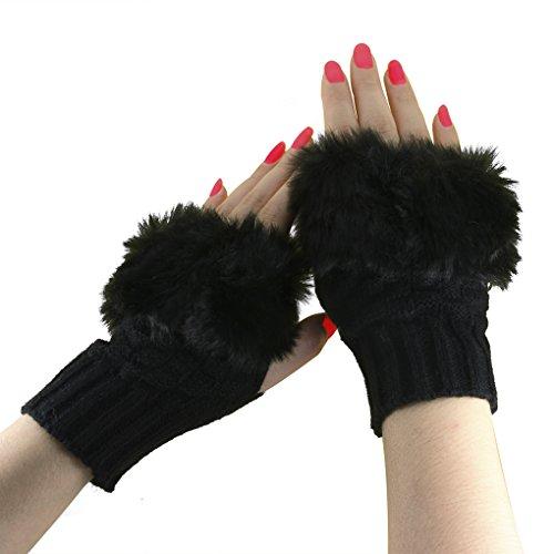 愛撫フェデレーション控えるニット 手袋 レディース メンズ 指なし フェイクファー付き 暖かい 秋 冬 防寒 おしゃれ シンプル ハンドウォーマー グローブ 男女兼用 指出し手袋 寒さ対策 ケーブル編 学生用 作業用 使いやすい