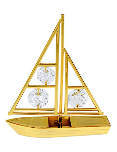 Sailboat 24k Gold Plated Figurine with Spectra Crystals by Swarovski