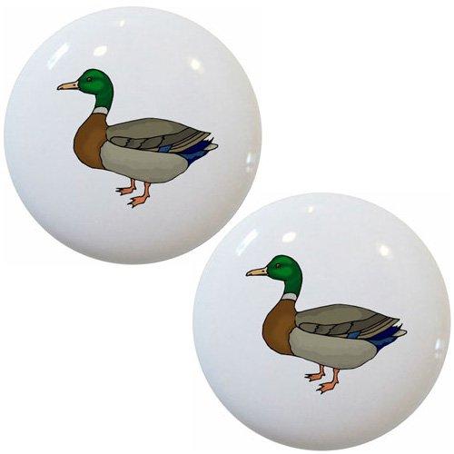 Set of 2 Mallard Duck Ceramic Cabinet Drawer Knobs
