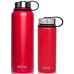 MIRA 40 Oz Stainless Steel Vacuum Insulated Wide Mouth Water Bottle | Thermos Keeps Cold for 24 hours, Hot for 12 hours | Double Walled Powder Coated Travel Flask | Red