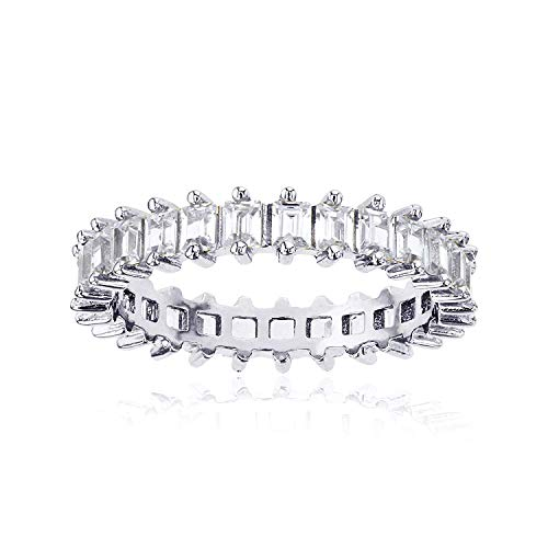 Sterling Silver 3.50mm Cubic Zirconia Baguette Eternity Band Ring For Women and Girls | Best Gift for Her | Hypoallergenic Rings | CZ Eternity Band | 925 Sterling Silver Rings, Size 8