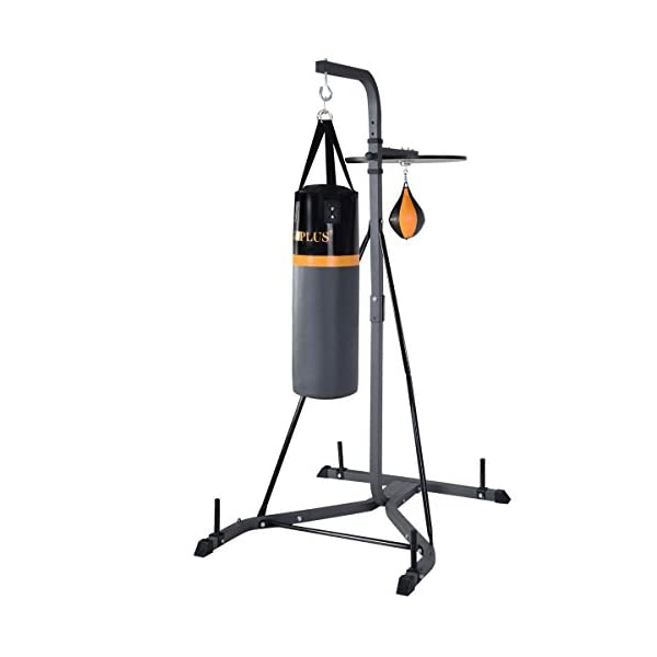 GOPLUS Punching Bag w/Stand 2 in 1 Hanger Wall Bracket Hanging Boxing Frame with Heavy Bag & Speed Bag 1