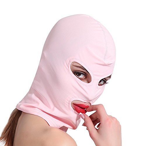 HOT TIME Unisex Lycra Spandex Zentai Hood Mask (S-Small, Pink-Open Eyes Mouth) ()