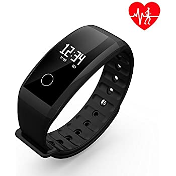 Fitness Tracker/Smart Bracelet, Dawo Smart Watch Waterproof Pedometer Activity Tracker with Sleep Monitor, Heart Rate Monitor, Blood Pressure/Oxygen Monitor Bluetooth 4.0 for IOS & Android(Black)