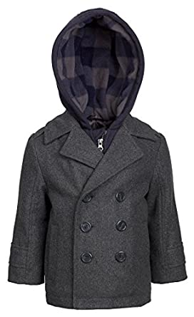 Amazon.com: London Fog Boys Double Breasted Wool Blend Hooded ...
