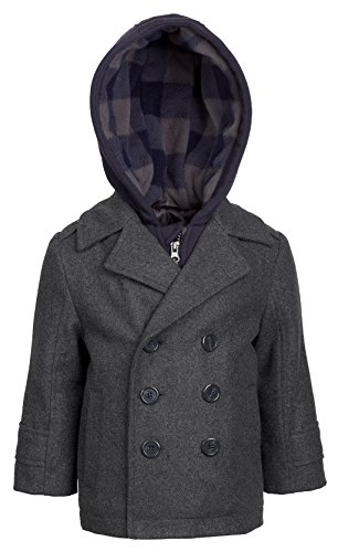 London Fog Boys Double Breasted Wool Blend Hooded Winter Peacoat Jacket Coat - Grey (Size (Double Breasted Hooded Wool)