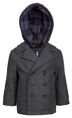 London Fog Boys Double Breasted Wool Blend Hooded Winter Peacoat Jacket Coat - Grey (Size (Hooded Wool Peacoat)