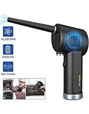 Cordless Computer Air Duster, Replaces Compressed Air Gas Cans & Spray Duster for Computer Keyboard Electronics Cleaning, Rechargeable 6000mAh Battery