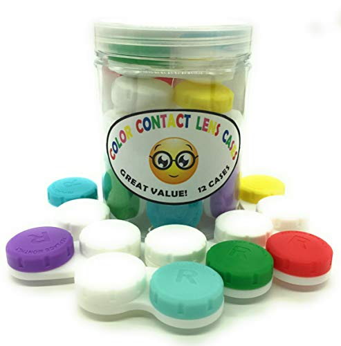 Contact Lens Case, 12 Pack Contact Lens Cases: 1 Year Supply, Convenient Storage Jar -