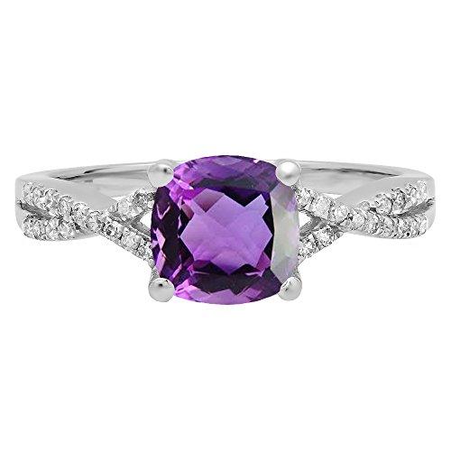 14K White Gold 7 MM Cushion Gemstone & Round Diamond Ladies Swirl Split Shank Engagement Ring