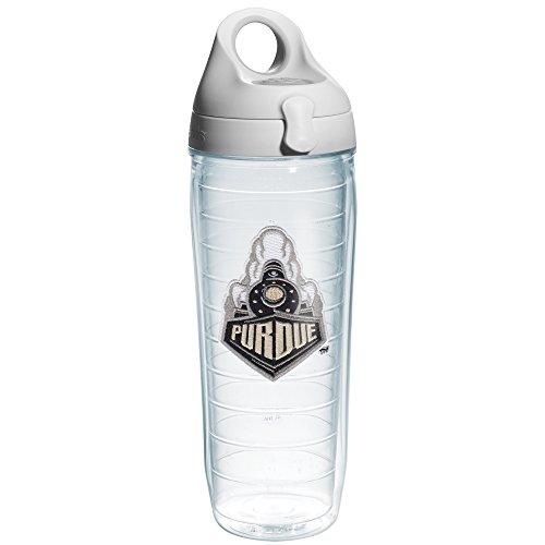 Tervis Purdue University Train Emblem Individual Water Bottle with Gray Lid, 24 oz, Clear (Train University Purdue)