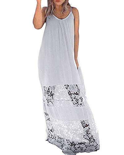 (Kidsform Long Maxi Dresses for Women Lace Spaghetti Strap Mesh Plus Size Plain Sundresses Summer Beach Party Casual Comfy Beachwear O-White Small)