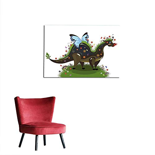 Wallpaper Kids Olive - kungfu Decoration Photo Wall Paper Fantasy,Butterfly Riding A Funny Dragon with Flowers Kids Nursery Cartoon,Army and Olive Green Blue Funny Poster W23.6 x L19.7