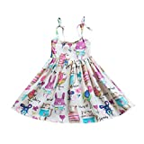 YWLINK Personalised Baby Girl Dressing Gowntoddler Infant Baby Kids Striped Cartoon Printed Princess Dress Outfits Clothing Fancy 9-12 Months Flower Girl Dresses Baby Blue(White,90)