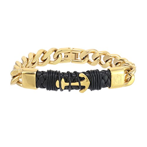 - Giorgio Milano 1572SG2 IP Gold Stainless Steel with Genuine Black Plain Leather Bracelet