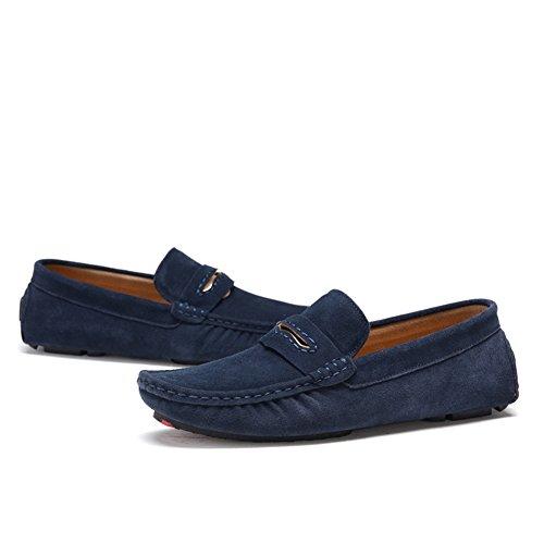 Carrera y Hombre de Real HUAN Slip Exterior Cuero Verde Caqui de Zapatos Para Ons Mocasines C y Azul Marino Oficina formales Azul de Gamuza Zapatos Trabajo Zapatos Informal ExEwqPYH