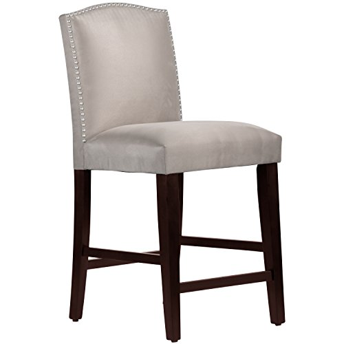 Skyline Furniture Nail Button Arched Counter Stool, Premier Platinum
