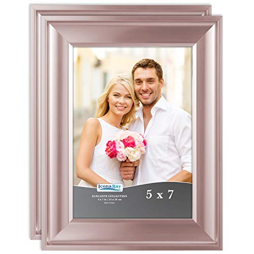Icona Bay 5x7 Picture Frame (2 Pack, Rose Gold), Rose Gold Photo Frame 5 x 7, Wall Mount or Table Top, Set of 2 Elegante Collection