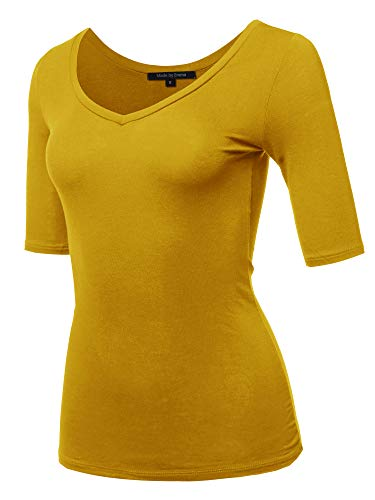 oft Stretch Solid 3/4 Sleeve V-Neck Top Sun Flower L ()
